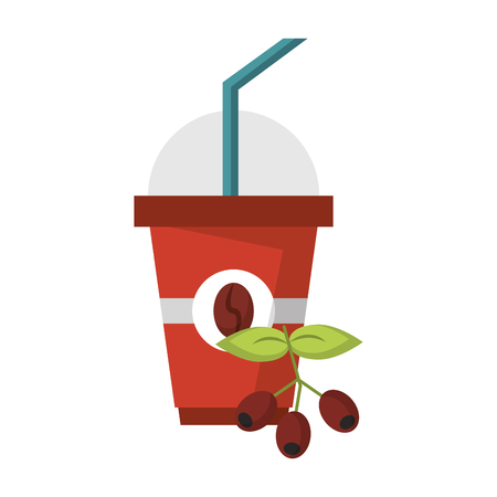 Coffee cup hot beverage coffeeshop products with beans on the leaves a lid and straw vector illustration graphic desing