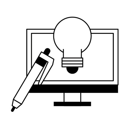 technology pc computer software tools cartoon vector illustration graphic design in black and white
