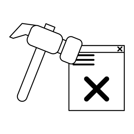 broken website with hammer icon cartoon vector illustration graphic design black and white Ilustração