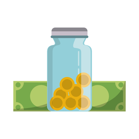 Money saving invesment market bussines jar with coins and bills vector illustration graphic desing