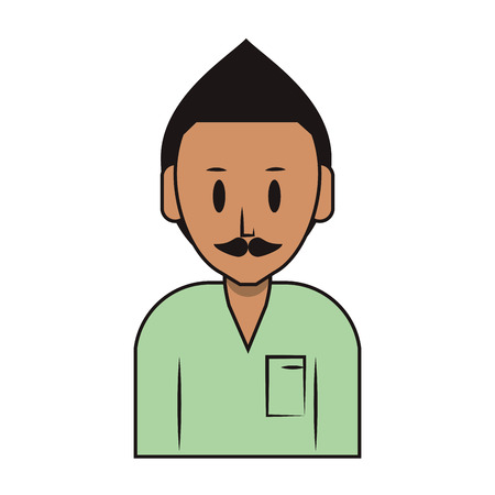 young man person upper body with moustache cartoon vector illustration graphic design