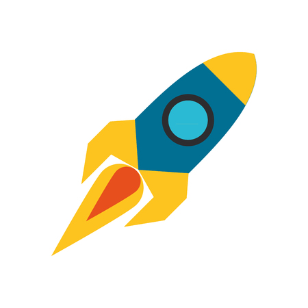 rocket taking off cartoon vector illustration graphic design Ilustrace