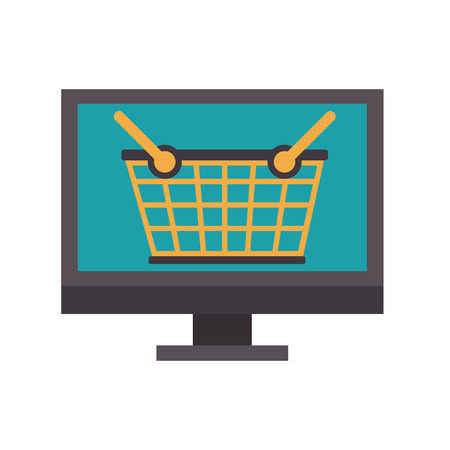 online shopping computer pc concept cartoon vector illustration graphic design Banco de Imagens - 122473245
