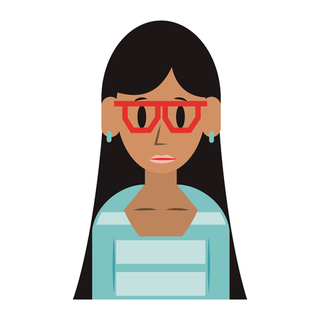 young woman person upper body wearing glasses cartoon vector illustration graphic design