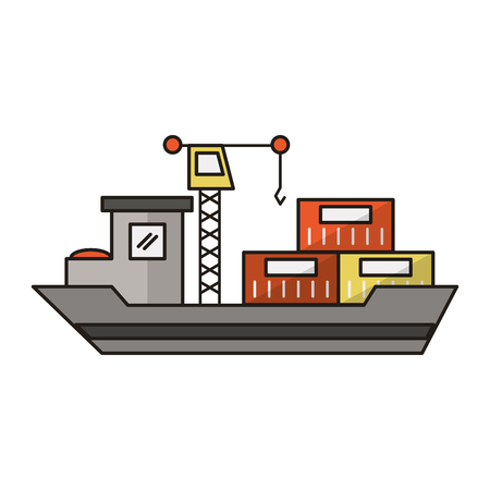 Freighter ship with containers and crane vector illustration graphic design