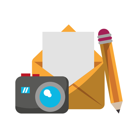 envelope and camera with pencil icon cartoon vector illustration graphic design