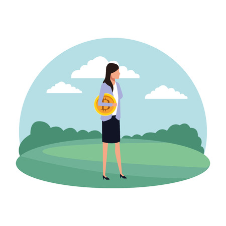 businesswoman with cryptocurrency icon cartoon on the grass vector illustration graphic design Vettoriali