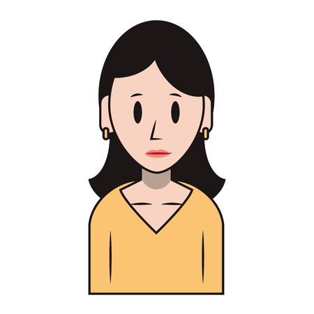 young woman person upper body wearing coat cartoon vector illustration graphic design