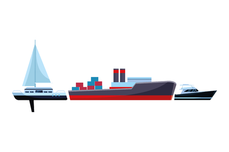 Cargo ship with container boxes steam pipes painted black and red sailboat and yatch vector illustration graphic design