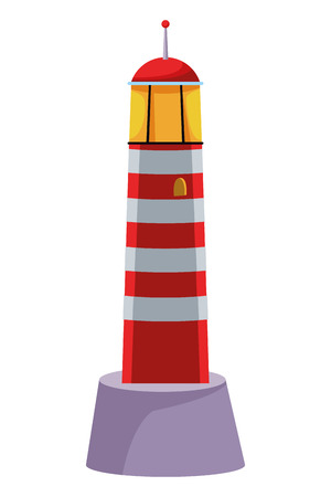 Shoreside lighthouse sea travel bright guide painted red and white isolated vector illustration graphic design Иллюстрация