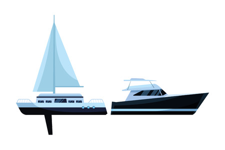 Sailboat ship marine travel vehicle machine sea exploration and yatch vector illustration graphic design
