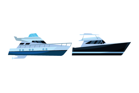 Luxury double decked yatch fast sea travel and exploration pair vector illustration graphic design