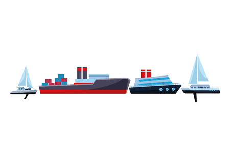 Cargo ship with container boxes steam pipes painted black and red cruiseship and sailboats vector illustration graphic design
