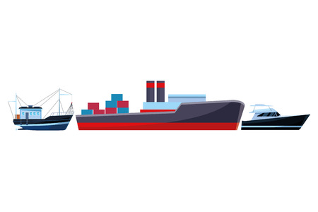 Cargo ship with container boxes steam pipes painted black and red fisher boat and yatch vector illustration graphic design Vettoriali
