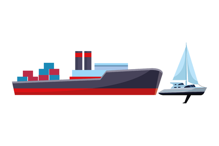Cargo ship with container boxes steam pipes painted black and red and sailboat vector illustration graphic design