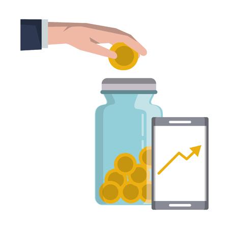 Économiser de l'argent sur le marché d'investissement des entreprises de dépôt à la main pièce de monnaie dans un bocal tendance graphique desing graphique d'illustration vectorielle Vecteurs