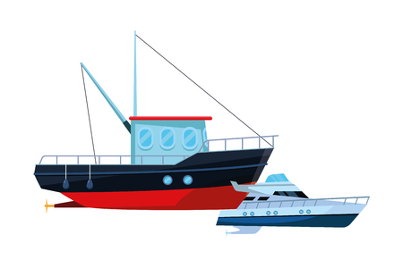 Fishing boat sea travel and work vehicle with lines and nets and yatch vector illustration graphic design