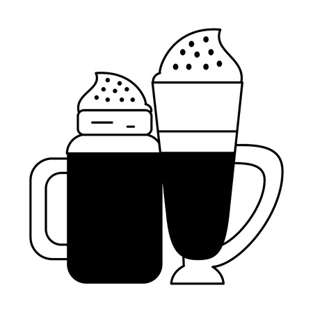 coffee cafe concept coffee shop elements ice drinks cartoon vector illustration graphic design in black and white