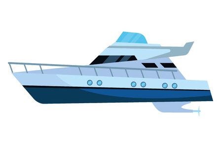 Luxury double decked yatch fast sea travel and exploration isolated vector illustration graphic design