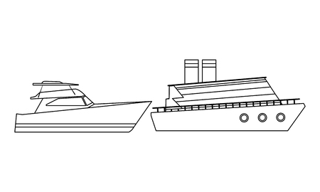 Luxury double decked yatch fast sea travel and exploration and yatch black and white vector illustration graphic design