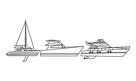 Barca a vela nave viaggio marino veicolo macchina esplorazione del mare e yatch in bianco e nero illustrazione vettoriale graphic design