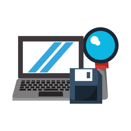 computer with magnifying glass and document icon cartoon vector illustration graphic design