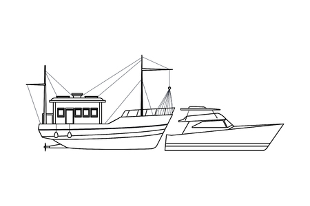 Fishing boat sea travel and work vehicle with lines and nets and yatch black and white vector illustration graphic design