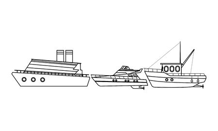 Fishing boat sea travel and work vehicle with lines and nets cruiseship and yatch black and white vector illustration graphic design