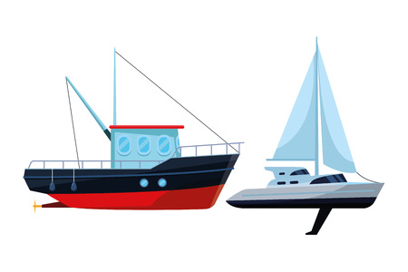 Fishing boat sea travel and work vehicle with lines and nets and sailboat vector illustration graphic design