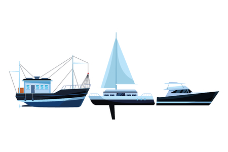 Fishing boat sea travel and work vehicle with lines and nets sailboat and yatch vector illustration graphic design Vettoriali