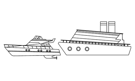 Luxury double decked yatch fast sea travel and exploration cruiseship black and white vector illustration graphic design