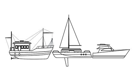 Fishing boat sea travel and work vehicle with lines and nets sailboat and yatch black and white vector illustration graphic design