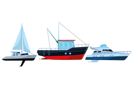 Fishing boat sea travel and work vehicle with lines and nets sailboat and yatch vector illustration graphic design