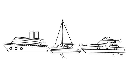 Sailboat ship marine travel vehicle machine sea exploration cruiseship and yatch black and white vector illustration graphic design Vettoriali
