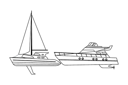 Sailboat ship marine travel vehicle machine sea exploration and yatch black and white vector illustration graphic design