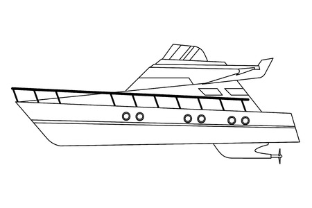 Luxury double decked yatch fast sea travel and exploration black and white vector illustration graphic design