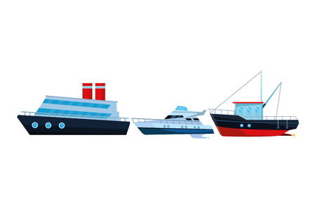 Fishing boat sea travel and work vehicle with lines and nets cruiseship and yatch vector illustration graphic design Vettoriali