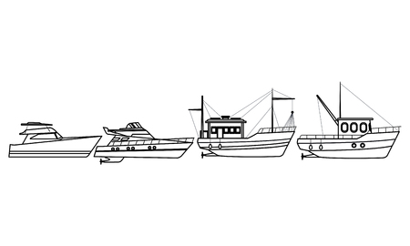 Fishing boat sea travel and work vehicle with lines and nets and yatch pair black and white vector illustration graphic design