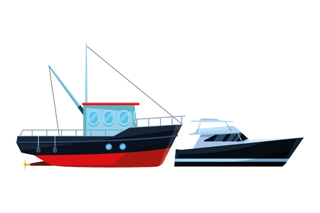 Fishing boat sea travel and work vehicle with lines and nets and yatch vector illustration graphic design Vettoriali