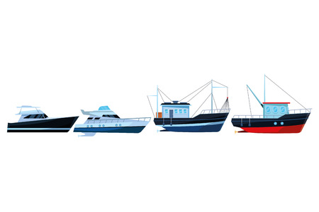 Fishing boat sea travel and work vehicle with lines and nets and yatch pair vector illustration graphic design