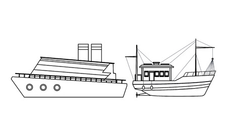 Fishing boat sea travel and work vehicle with lines and nets and cruiseship black and white vector illustration graphic design