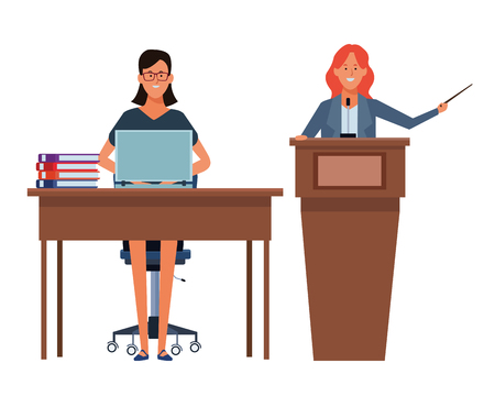 women in a podium and office desk wearing glasses vector illustration graphic design