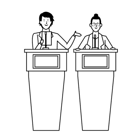 couple in a podium making a speech wearing glasses black and white vector illustration graphic design Ilustração