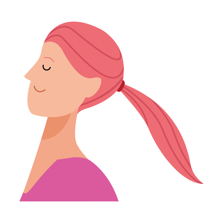 woman portrait avatar cartoon character with pony tail vector illustration graphic design Standard-Bild - 122477040