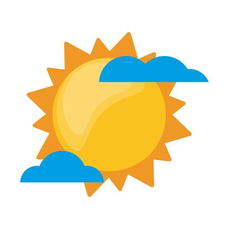 Sun and clouds weather cartoon vector illustration graphic design Ilustração