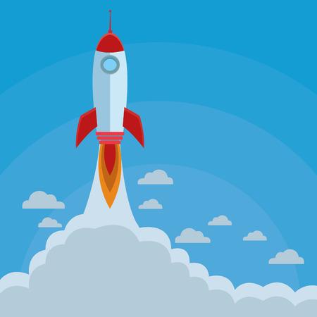 rocket taking off cartoon vector illustration graphic design Ilustração