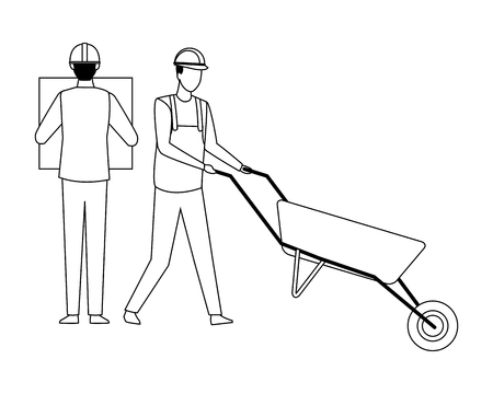 Construction teamwork avatar engineer with plans and worker with wheelbarrow vector illustration graphic design
