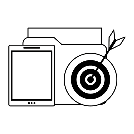 cellphone with documents and target icon cartoon vector illustration graphic design black and white