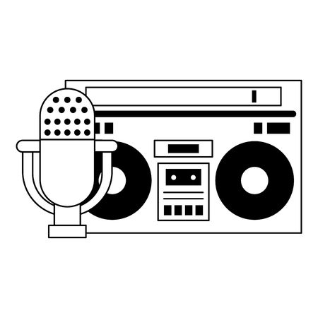 Ancienne radio stéréo vintageo avec microphone vector illustration graphic design