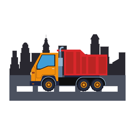 Construction vehicle cargo truck in the city scenery vector illustration graphic design